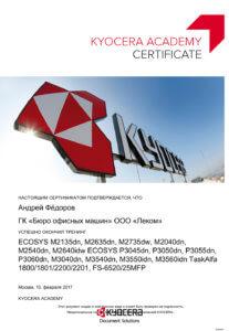 Сертификат специалиста - Андрей Фёдоров 2017